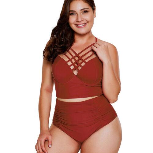 Damen Übergröße Bademode Blumen Bikini Sets Gepolstert Badeanzug Badebekleidung