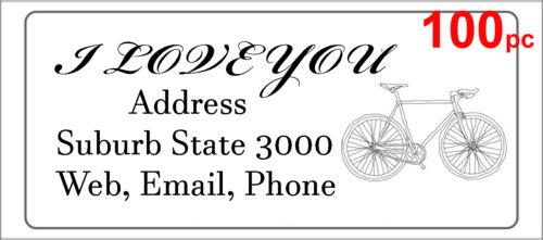100 Personalised return address label bicycle custom mailing sticker 56x25mm