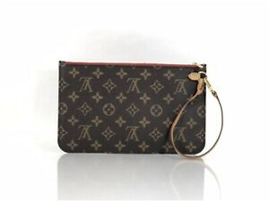 60add42986b Details about Louis Vuitton Monogram Neverfull MM Pouch Only with Cerise  Interior Wristlet