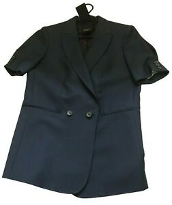 Paul Smith Ladies Navy Blue Tailored Short Sleeve Jacket Mohair Blend 42 / 52