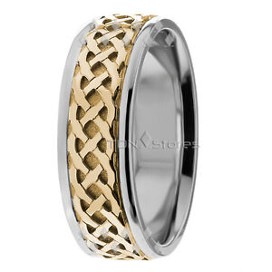 18K Solid Gold Two Tone Celtic Wedding Bands Rings Mens Womens ...