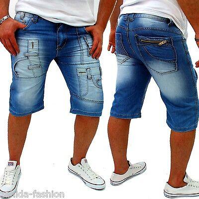ZAHIDA Herren Capri Jeans Bermuda Short Kosmo Style Kurze Hose Blau W28-W36 NEU