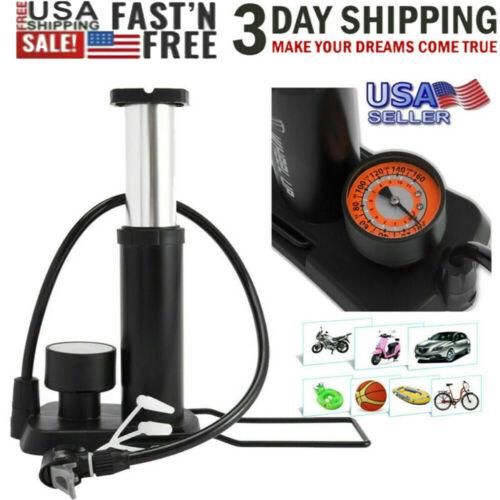 Mini Bike Pump Bicycle Compact Inflactor Tire Portable W//Gauge /& Valve 160 Psi