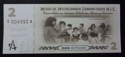 Cordoba ARGENTINA EMERGENCY BANKNOTE 2 Activos UNC 2002