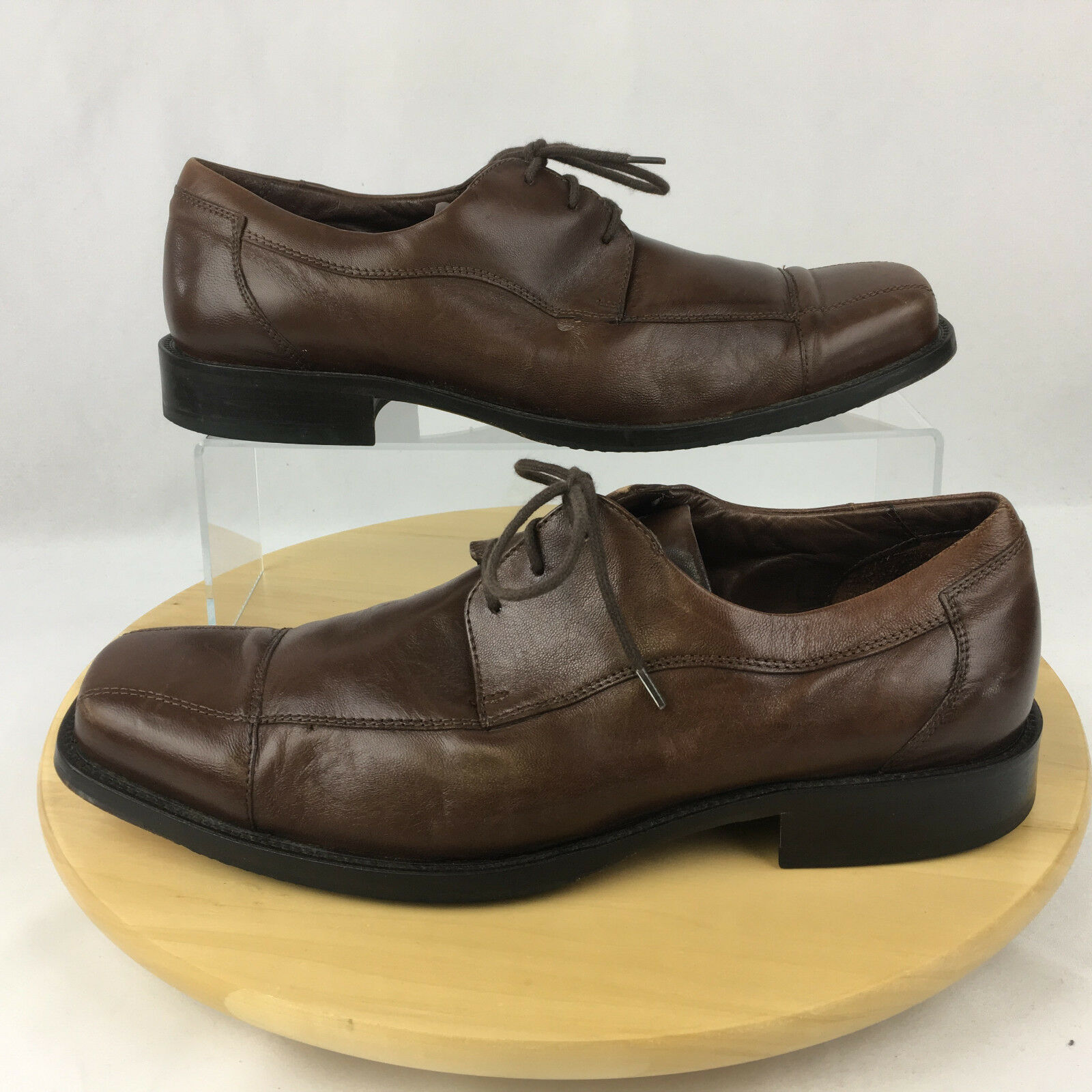 Johnston & Murphy Dobson Oxford Shoes Mens Size 10.5M Brown Leather Cap Toe