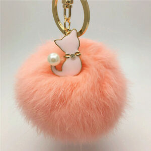 Rabbit-Fur-Key-Chain-Bag-Charm-Fluffy-Puff-Ball-Key-Ring-With-Cute-Cat-Pendant