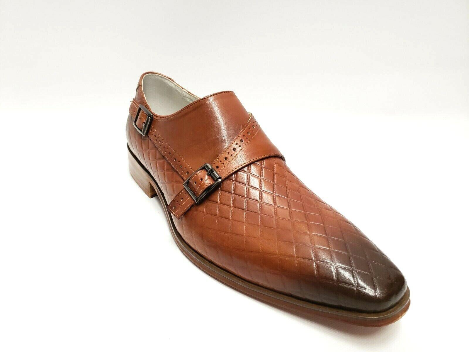 Homme Giovanni Cognac Diamond Imprimer Moine-Bracelet en Cuir Véritable   Chaussures