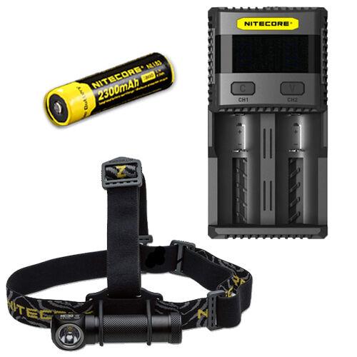 Nitecore HC30W XM-L2 LED Headlamp 1000Lm w/ SC2 Charger & NL183 18650 Battery