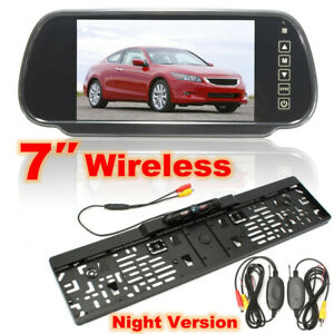 Wireless-7-TFT-LCD-Mirror-Monitor-Rear-Reverse-Camera-License-Number-Plate-EU