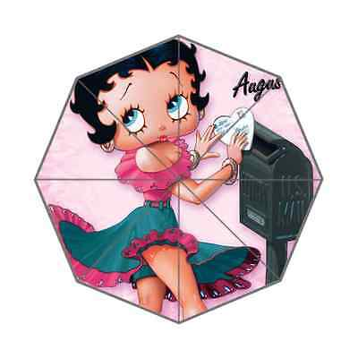 Pink Lady Betty Boop Portable Foldable Umbrella Resistant Windproof with Unisex