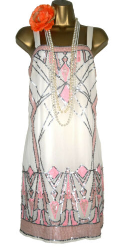 Dress Gatsby 1920s Sequin Warehouse 10 Charleston Inspired Size Beige Flapper Cwqvq0xnZf