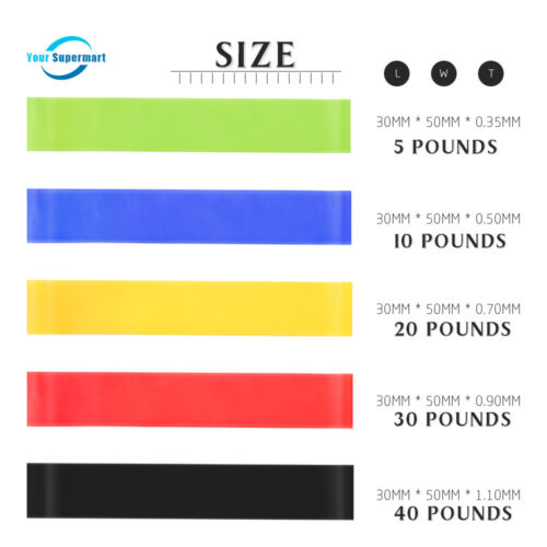 5PCS Resistance Band Set 5 Levels Latex Gym Strength Training Rubber Loops Bands