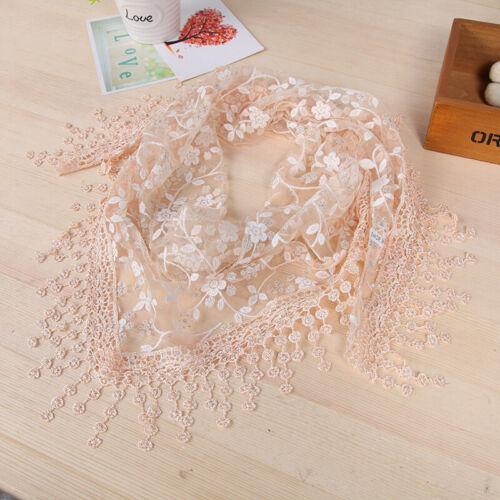 Women Lady Lace Tassel Scarf Shawl Wrap Veil Church Mantilla Floral Sheer Hollow