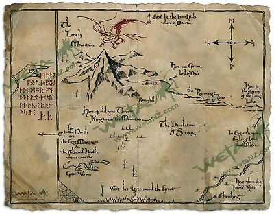 BRAND NEW The Hobbit Art Print Map Of The Shire