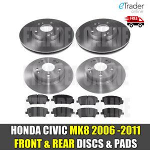 Para HONDA CIVIC 2012-on FN FK VTEC I-CDTi Discos de freno trasero y Almohadillas Pad Set