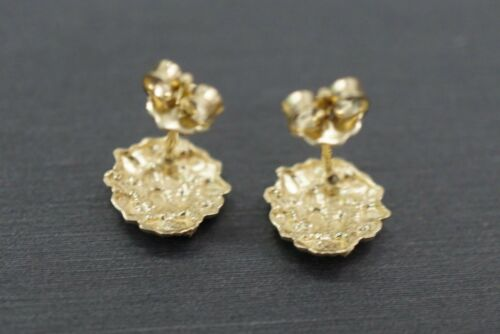 10K solide or jaune 8.5 mm Round Nugget Cubique Zircone Clous D/'oreilles Hommes Femmes Enfants
