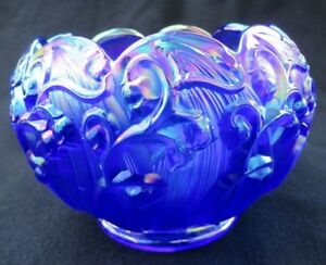 Fenton-Art-Glass-Cobalt-Blue-Iridescent-Carnival-Lily-Of-The-Valley-Rose-Bowl