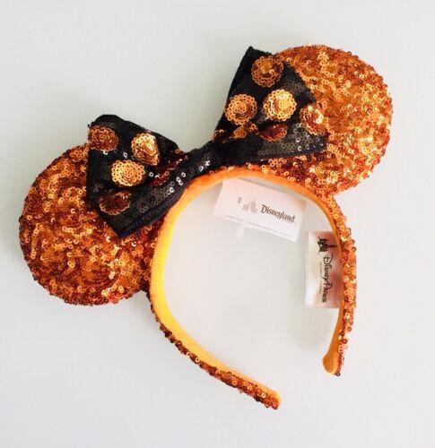 Disney Parks Black /& Orange Sequin Polka Dot Halloween Minnie Mouse Ear Headband