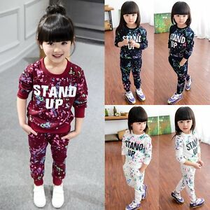 6d907b088 2PCS Toddler Kids Baby Girl Sports Clothes Hoodie T-shirt Tops+Pants ...