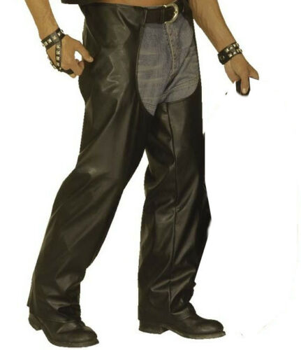 BLACK Biker Chaps YMCA ANNI 1980 CAMP Rocker Costume Da Cowboy