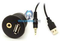 Flush Mount Usb Aux 3.5mm 1/8 Headphone Jack Dash Mounting Dashboard Dock Input on sale