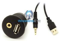 Flush Mount Usb Aux 3.5mm 1/8 Headphone Jack Dash Mounting Dashboard Dock Input
