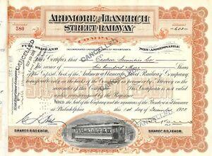 Ardmore /& Llanerch Street Railway Company Stock Certificate Pennsylvania