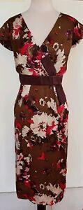 ANTHEA-CRAWFORD-Brown-Plum-Pink-Silk-Dress-Size-14