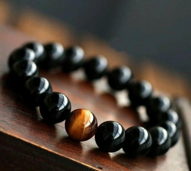 Mens Natural Stone Onyx Tigers Eye Surfer Style Gemstone Bead Bracelet For Guys