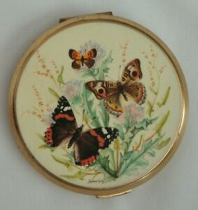 Vintage Stratton Butterfly Holmes Gray Ladies Gold Metal Face Compact Mirror Ebay