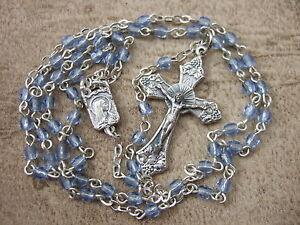 Catholic-Rosary-Sapphire-BLUE-Glass-Tiny-Dainty-3mm-glass-beads-15-034-cute