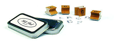 Cavallini AMERICAN ALPHABET Assorted Wooden Rubber Stamps w/ Black Ink Pad + Tin