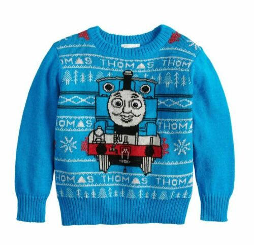 NWT Toddler Boys 2T-4T Blue White Thomas the Train Winter Knit Sweater