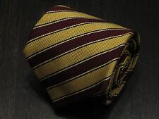 Drake's London England Silk yellow burgundy red striped neck tie