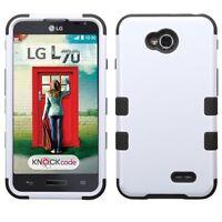 For Lg Optimus L70 Ms323 White Tuff Rubber Skin Cover Case +screen Protector