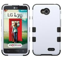 For Lg Optimus L70 Ms323 White Tuff Rubber Skin Cover Case +screen Protector