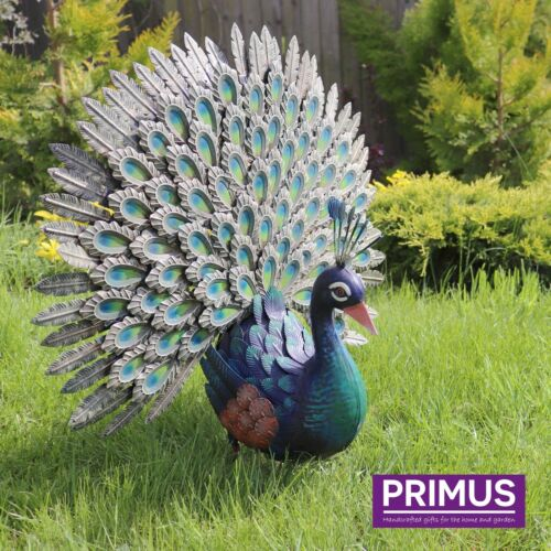 LARGE Fantail Peacock 64cm Tall Metal Garden Ornament FAST /& FREE DELIVERY D9