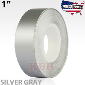 """1/"""" Pin Stripe Pinstriping Solid Line Tape Vinyl Decal Sticker 25mm Silver Gray"""