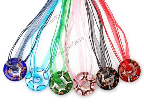 FREE Wholesale Lot 6ps Round Silver Foil Lampwork Glass Pendants Silk Necklace