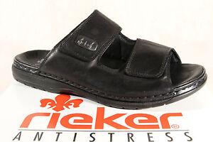 Rieker-Pantoletten-Pantolette-Clogs-schwarz-Leder-25590-NEU