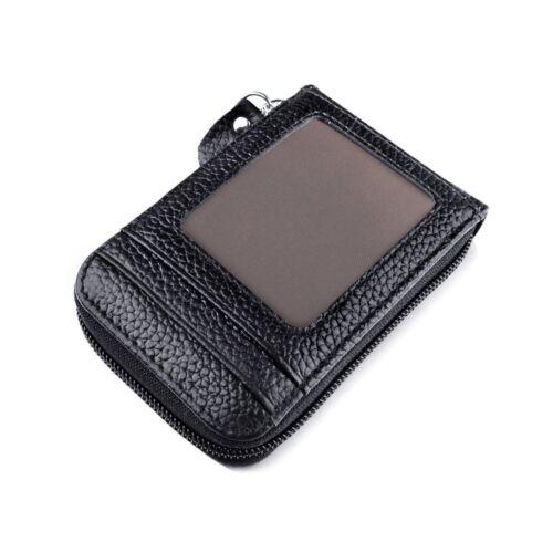 Men/'s Genuine Leather Wallet Credit Card Holder RFID Blocking Zipper Thin Pocket