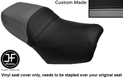 BLACK AND GREY AUOTIVE VINYL CUS FITS DAELIM VS 125 DUAL SEAT COVER ONLY