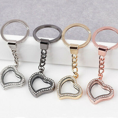 Fashion Heart Living Floating Charm Locket Key Pendants Keychain Key Ring Gift