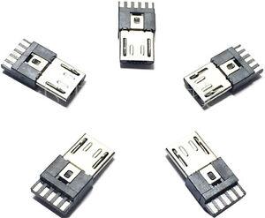 5-x-Micro-USB-Typ-A-Stecker-5-Pin-Steckverbinder-Buchse