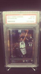 1997-Topps-Chrome-115-Tim-Duncan-PSA-9-Mint-RC-Rookie