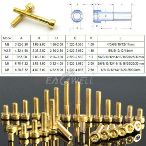 M2 M2.5 M3 M4 M5 Alloy Titanium Plating Gold Allen Screw Cup Head Hex Bolts LOT