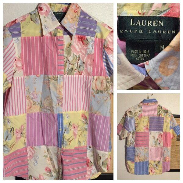 RARE Lauren Ralph Lauren Floral & Stripe Patchwork Paisley Cotton damen Shirt M