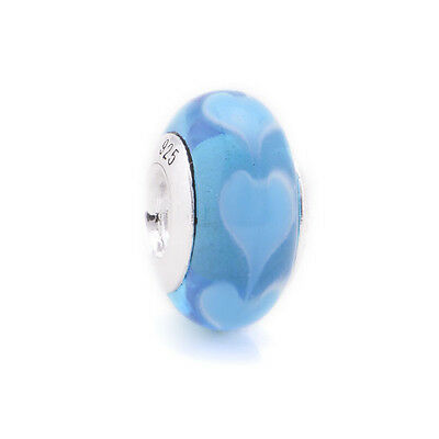 Authentic Genuine Sterling Silver LOVE Charm Bead for Bracelet ~Murano Glass