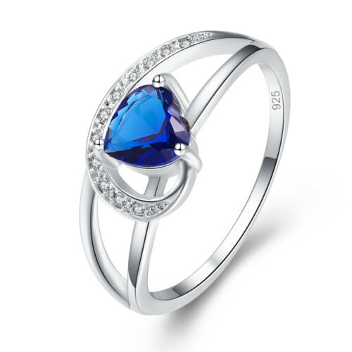 Exquise Coeur Cut Saphir /& rainbow Topaz Gemstone Silver Ring Taille 6 7 8 9