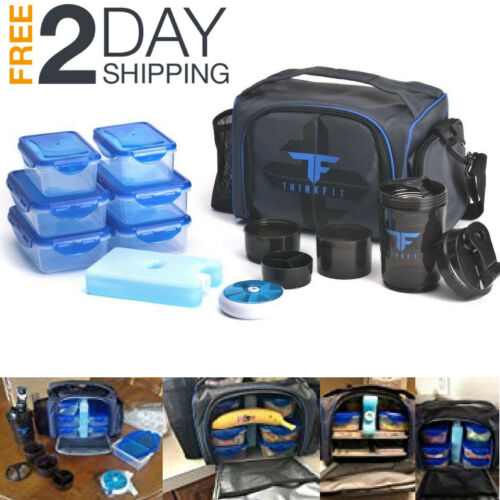 Meal Management Bag 6 Pack Lunch Portion Control Containers Fitness Gym Prep Box